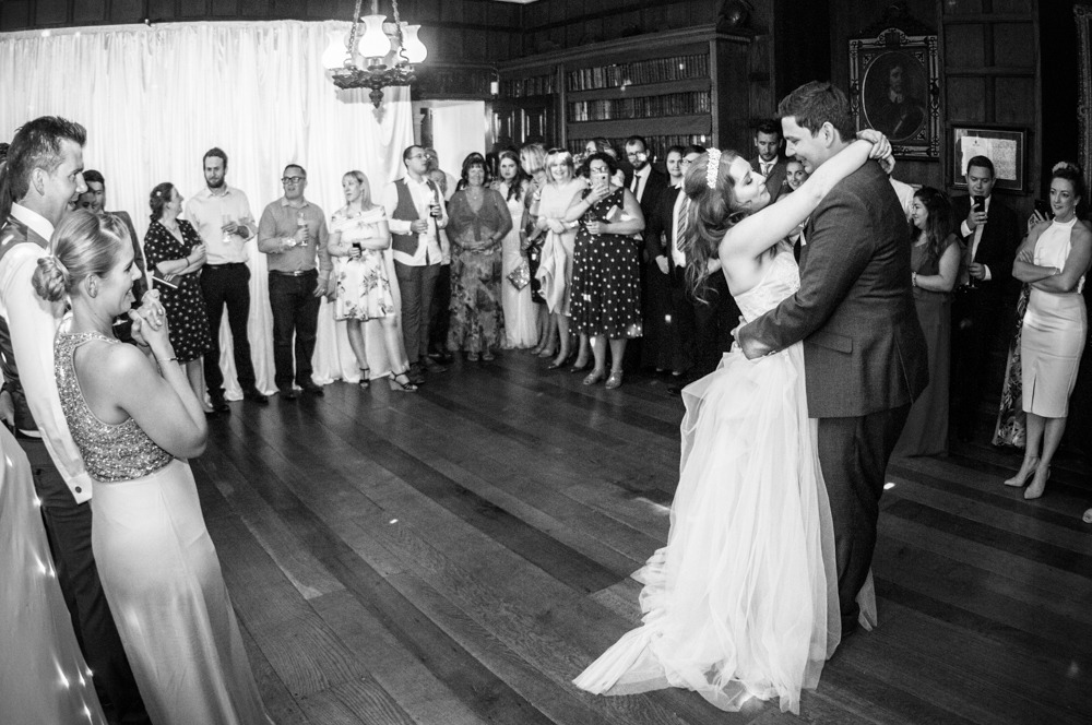 Bride and groom during first dance, Ripley Castle weddings, Yorkshire wedding photographers