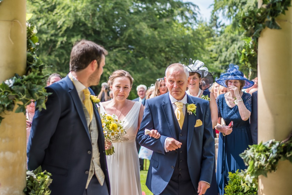 Bride and Dad meeting groom at top of the aisle, crying, Ringwood Hall weddings, Sheffield wedding photographer