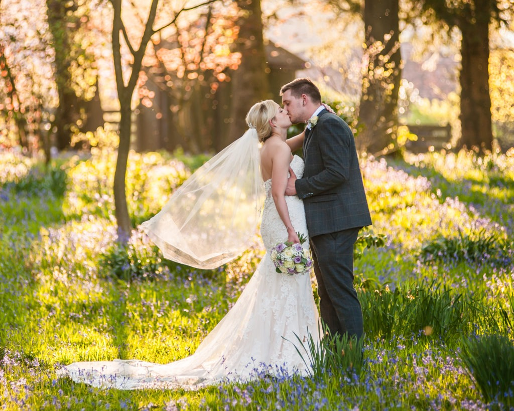 Bride and groom kissing in bluebell wood, Wortley Hall, Sheffield wedding photography